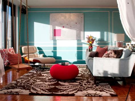 Teal Transitional Living Room With Brown Damask Area Rug