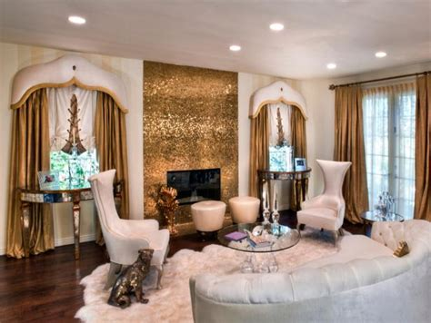 Funky White Living Room with Gold Accents   HGTV