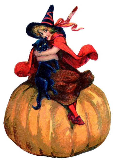 Vintage Halloween Image - Adorable Witch with Pumpkin